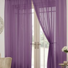 Lucy Eyelet Ring Top Pair of Voile Curtains - Aubergine Purple