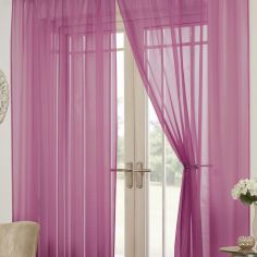Lucy Eyelet Ring Top Pair of Voile Curtains - Cerise Pink