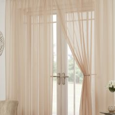 Lucy Eyelet Ring Top Pair of Voile Curtains - Coffee Beige
