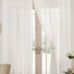Lucy Eyelet Ring Top Pair of Voile Curtains - White