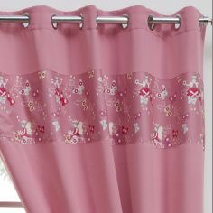 Fairy Butterfly Ring Top Thermal Blackout Curtains - Pink