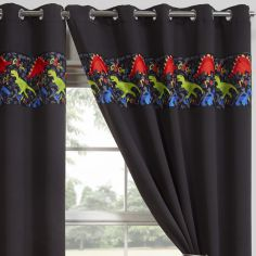 Dinosaur Eyelet Ring Top Thermal Blackout Curtains - Black