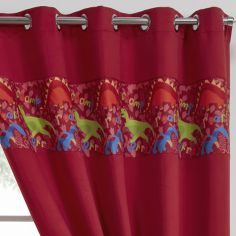 Dinosaur Eyelet Ring Top Thermal Blackout Curtains - Red
