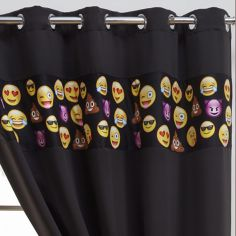 Emoji Eyelet Thermal Blackout Curtains - Black