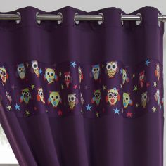 Owl Eyelet Thermal Blackout Curtains - Purple