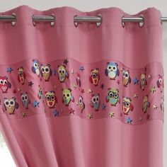 Owl Eyelet Thermal Blackout Curtains - Pink