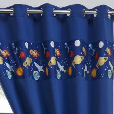 Space & Stars Childrens Eyelet Thermal Blackout Curtains - Blue