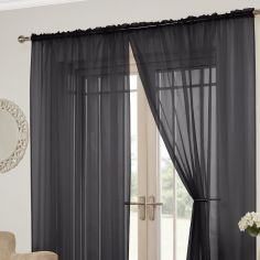 Lucy Slot Top Pair of Voile Curtains - Black