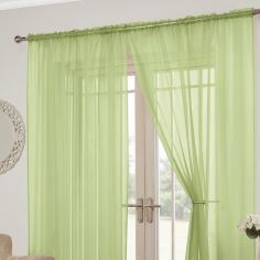 Lucy Slot Top Pair of Voile Curtains - Zest Green