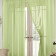 Lucy Eyelet Ring Top Pair of Voile Curtains - Zest Green