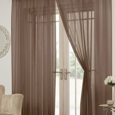Lucy Eyelet Ring Top Pair of Voile Curtains - Chocolate Brown