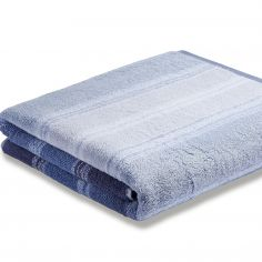 Bianca 100% Cotton Soft Ombre Stripe Towel - Blue