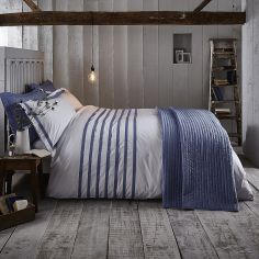 Bianca 100% Cotton Soft Chambray Pleats Duvet Cover Set - Blue