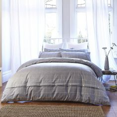 Bianca 100% Cotton Flannelette Check Soft Print Duvet Cover Set - Grey