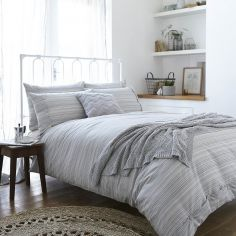Bianca 100% Cotton Soft Woven Stripe Duvet Cover Set - Natural