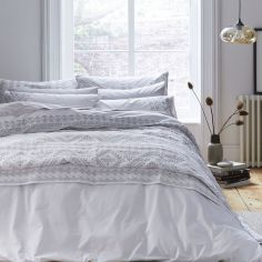 Bianca 100% Cotton Soft Embroidered Aztec Duvet Cover Set - White