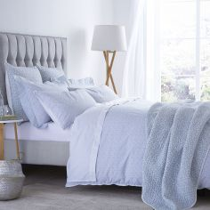 Bianca 100% Cotton Soft Delicate Print Duvet Cover Set - Duck Egg Blue
