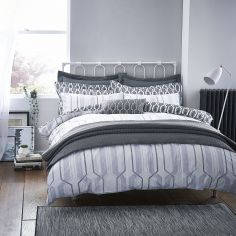 Bianca 100% Cotton Soft Geo Print Duvet Cover Set - Grey