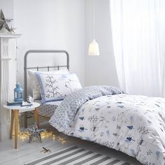 Kids Bianca 100% Cotton Soft Nordic Print Duvet Cover Set - Blue