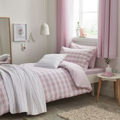 Kids Bianca 100% Cotton Soft Gingham Print Duvet Cover Set - Blush Pink