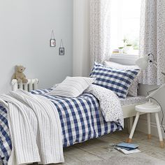 Kids Bianca 100% Cotton Soft Gingham Print Duvet Cover Set - Blue
