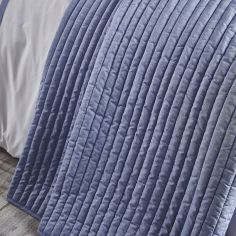 Bianca Cotton Soft Chambray Pleats Bedspread - Blue