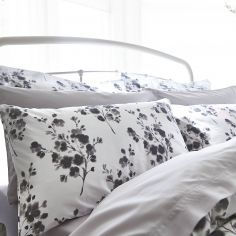 Bianca 100% Cotton Soft Sprig Floral Oxford Pillowcase - Grey