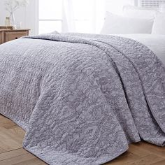 Bianca 100% Cotton Soft Printed Bedspread - Grey
