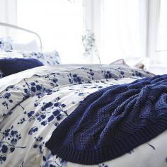 Bianca 100% Cotton Soft Knit Throw - Navy