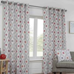 Bordeaux Geometric Fully Lined Ring Top Curtains - Crimson Red