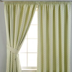 Dotty Tape Top Thermal Blackout Curtains - Sage Green