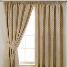 Dotty Tape Top Thermal Blackout Curtains - Taupe Natural