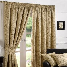Luxury Harrogate Fully Lined Tape Top Tapestry Curtains - Beige & Multi