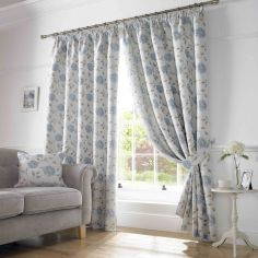 Hereford Woven Jacquard Floral Fully Lined Tape Top Curtains - Blue