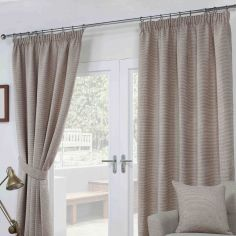 Paloma Woven Fully Lined Tape Top Curtains - Mocha