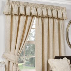 Shetland Woven Jacquard Fully Lined Tape Top Curtains - Natural