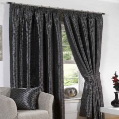 Sicily Woven Jacquard Fully Lined Curtains Tape Top - Black