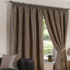 Sicily Woven Jacquard Fully Lined Tape Top Curtains - Chocolate