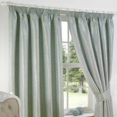 Sicily Woven Jacquard Fully Lined Tape Top Curtains - Duck Egg Blue