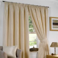 Sicily Woven Jacquard Fully Lined Tape Top Curtains - Silk Cream