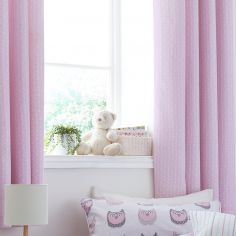 Kids Bianca 100% Cotton Soft Ditsy Print Ring Top Lined Curtains - Blush Pink
