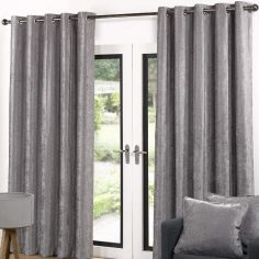 Luxury Velvet Fully Lined Ring Top Curtains - Grey