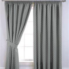 Dotty Tape Top Thermal Blackout Curtains - Grey