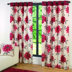 Isabel Floral Fully Lined Eyelet Curtains - Red