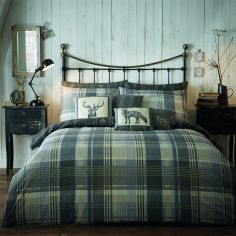 Connolly Check Reversible Flannelette Duvet Cover Set - Charcoal Grey