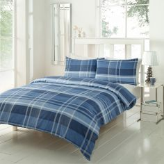 Conway Check Duvet Cover Set - Denim Blue