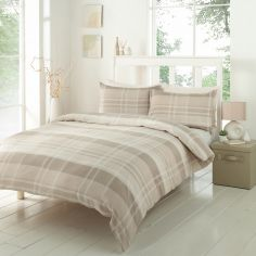 Conway Check Duvet Cover Set - Stone Beige