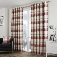 Balmoral Check Fully Lined Eyelet Curtains - Ruby Red