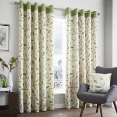 Beechwood Leaf Fully Lined Eyelet Curtains - Green