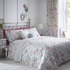 Jade Floral Quilted Reversible Bedspread - Pink